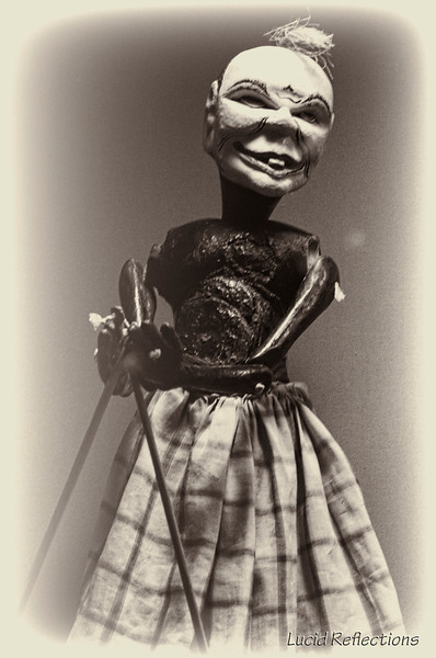 Indonesian Rod Puppet. As creepy as this one looks he isn't a demon or evil entity, he is a Jester named Semar. Would you show your kids a puppet show starring Semar?
