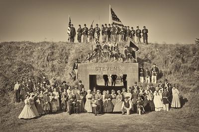 Battle at Fort Stevens, Oregon; September 3,4&5, 2011.  A gathering of all the reenactors of the Washington Civil War Assoication gathered at the entrance to Fort Stevens.