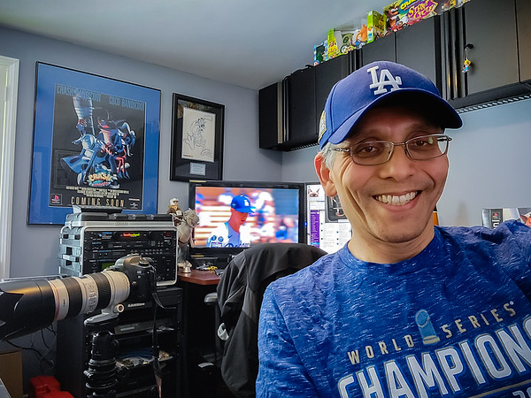 It's time for Dodgers Baseball!  It's kinda funny, but my home office almost appears as if it bleeds blue...