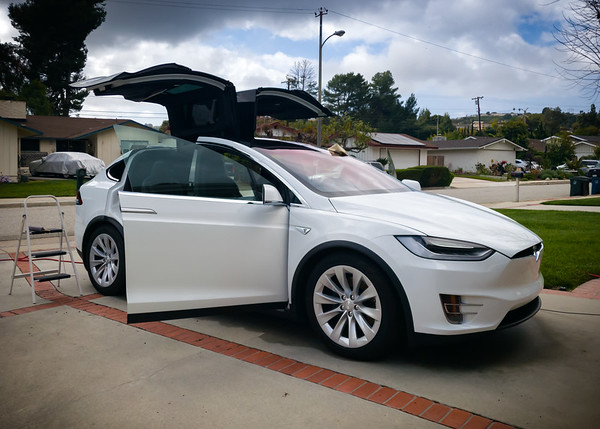APRIL - Valerie is giving my Model X a very thorough cleaning!  She prefers taking it on shopping runs...the X's automated doors and touchless features make it the ideal vehicle to own during a pandemic.  If only we had opted for the self-presenting doors. #SaferAtHome