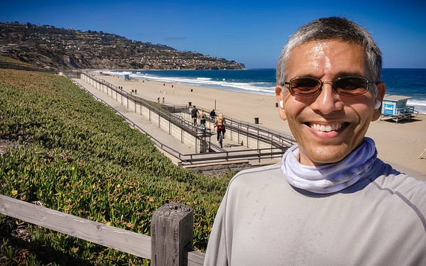 Torrance Beach facing Palos Verdes selfie