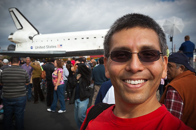 I take a photo of myself to prove I was actually here...would have tried a few more times to get a shot with me not blocking a portion of the shuttle if I was not so concerned about the sun going behind the clouds and possibly diminishing the quality of subsequent photos