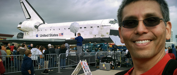 I arrive at Shuttle Endeavour and immediately take photos with my phone to share on Facebook...however this is not the one I actually shared