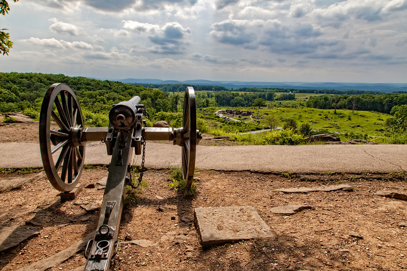 Union Cannon on Little Round Top looking down on Devils Den, Slaughter Pen, and the Valley of Death