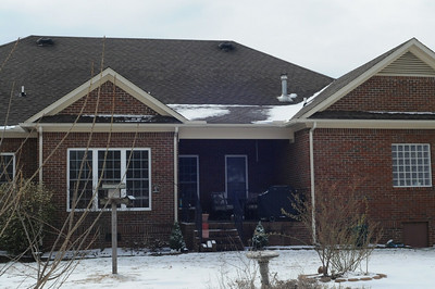 A look at the back of the house.  Not much snow left on the roof.