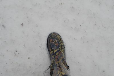 Wellies meet snow.  Snow, meet the wellies.
