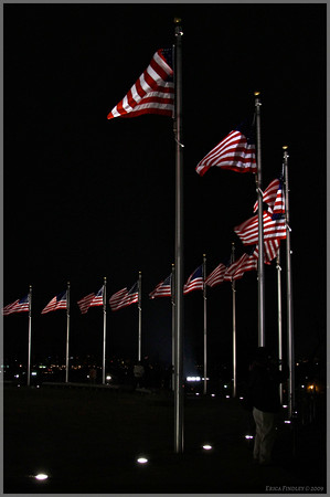 Flags around the base of the Washington Monument.