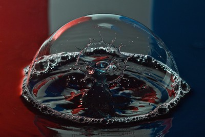 Water Drop Collitsion in Soap Bubble