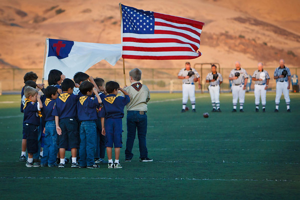 A moment of silence in remberance of 9/11 during the Valley Christian's season operner.