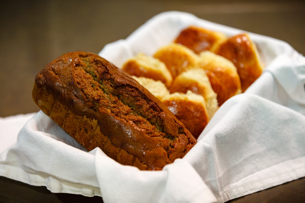 Mom baked her famous banana nut bread and rolls for the meal