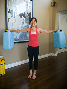 JULY - The recent 7.1 magnitude earthquake in Ridgecrest served as a good reminder that we have never really made a disaster plan.  Valerie illustrates how heavy 5 gallon water containers are...when empty.
