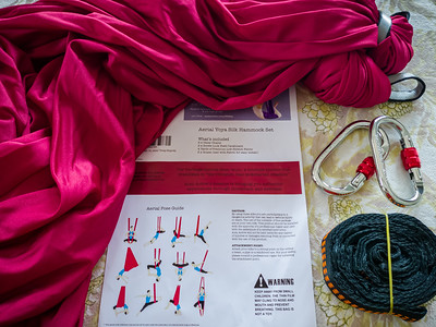 """APRIL - The reason Valerie bought two Xmounts is because she bought an aerial silk hammock.  She has wanted one ever since her aerial birthday party.  I can't hang it until a replacement bolt arrives.  The real question is...will Valerie still be """"Safer at Home"""" once I've installed it?"""