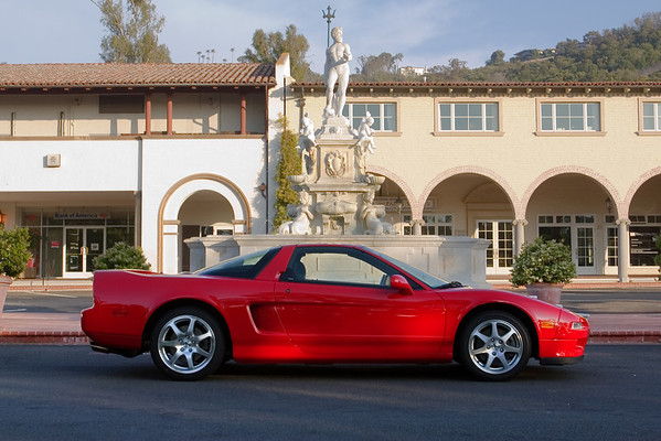 After a few repairs and her 30,000 mile service, my NSX returns to one of the first locations I photographed her. Though that was seven years ago, she looks pretty much the same.  Malaga Cove Plaza, however, appears a touch more colorful. Too bad the sun at this hour has already dipped behind the trees...we'll have to come back for a better shot on another day.