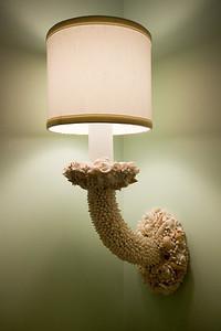 Seashell encrusted light fixtures