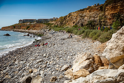 Terranea Resort lies on the other end of this cove. Resort guests can rent Kayaks from here.