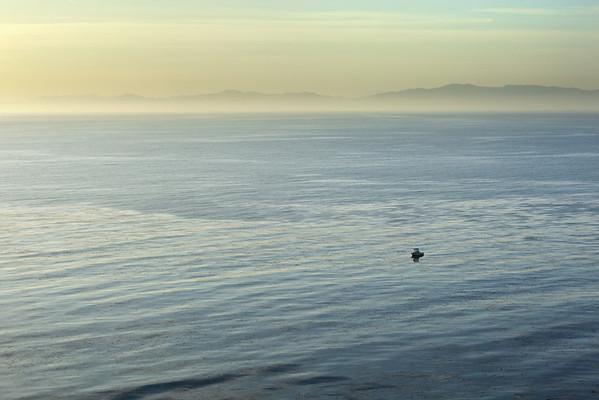 Hazy view of Malibu and the Santa Monica Mountains