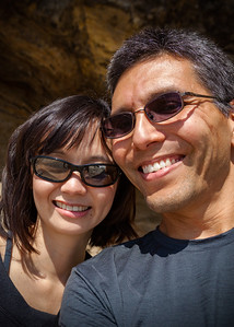 Valerie and Eric standing on the rocks near The Cove at Terranea (Photo by Eric Iwasaki)