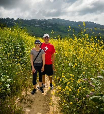 Valerie and I pose for a photo on the single-track trail that parallels Burma Road