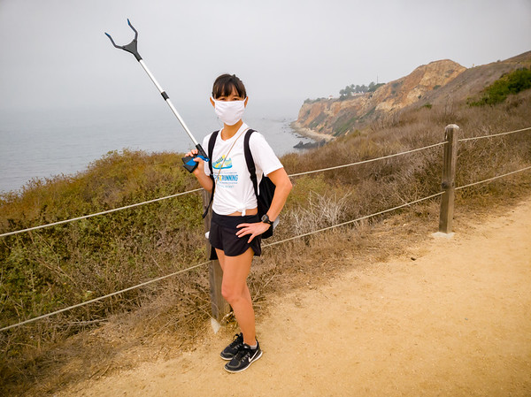 By assist, I mean Valerie is also actively participating in Heal the Bay's Coastal Cleanup Month.  I will be using the Clean Swell app to log every single item of trash she picks up as we walk our 5K on the trails at Terranea.