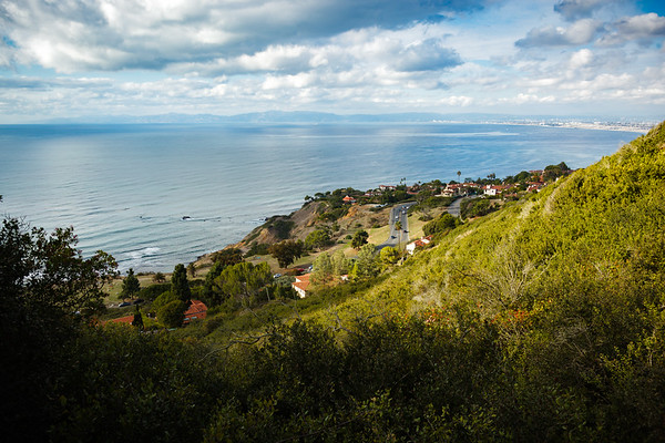 From here I am looking north over Palos Verdes Drive West...with Malibu and the Santa Monica Mountains on the horizon