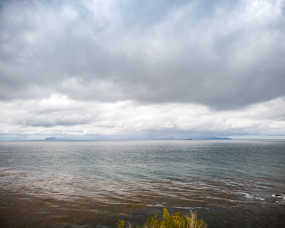 Catalina Island nearly disappears behind rain and clouds