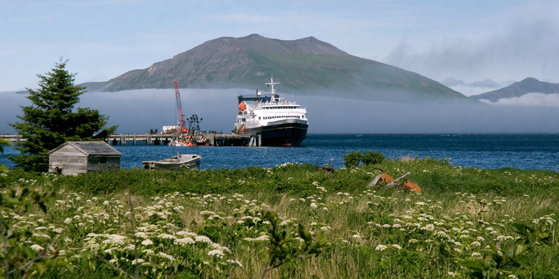 July 27, 2007 - MV Tustumena ( Trusty Tusty ) docks at False Pass, AK. <br /> Itinerary : Kodiak, Chignik, Sand Point, Cold Bay, False Pass, Akutan, Unalaska - the chain of Aluetian Islands with dormant volcanoes,mountains rising out of the ocean,and bald eagles by the dozen.