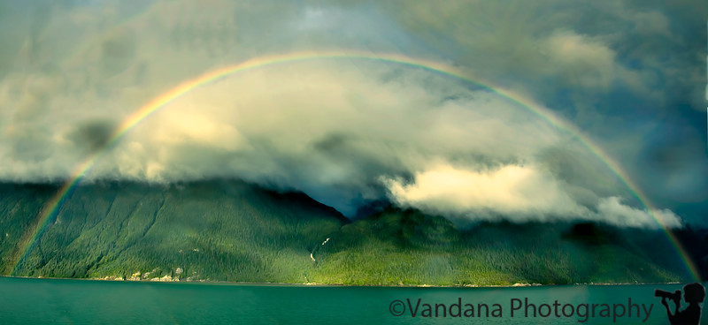 September 1, 2017 - Rainbow at sea<br /> <br /> Day at Sea in the cruise. a 2 photo merge, 'cause this rainbow was so wide and expansive, I couldn't get it in 1 photo with my 24mm lens !