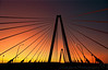 """January 15, 2012 - Sunset at  Arthur J. Ravenel Jr. Bridge, Charleston, SC   Arthur J. Ravenel Jr. Bridge is North America's longest cable-stayed bridge. The bridge spanning the Cooper River is 1,546 feet long and connects historic downtown Charleston and Mount Pleasant.   thanks everybody for the wonderful comments on yesterday's photo of K and the birthday wishes. Both of us were quite overwhelmed ! thanks from K as well !  late edit: yes, this is taken from a moving car, K was driving :) !  edit: this shot won the dgrin challenge <a href=""""http://dgrin.com/showthread.php?t=214017"""">Angles or shapes</a> in Jan 2012 !!"""