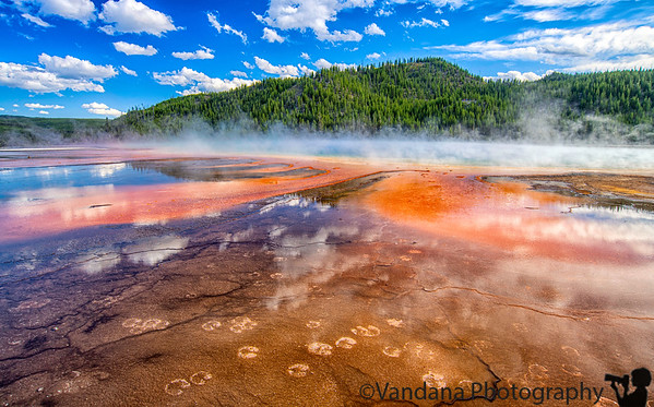 July 31, 2020 -  Grand Prismatic Spring, Yellowstone NP  I wish I could've got the classic picture from the overlook, but still, quite a sight with the colors and steam close to the Grand Prismatic !