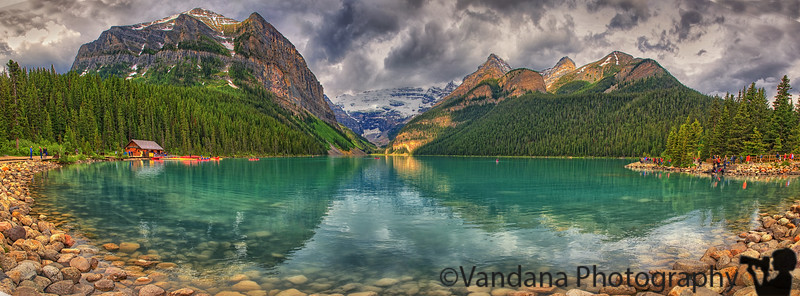 July 8, 2016 - Lake Louise panorama ( 5 images stitched pano), Alberta, Canada<br /> <br /> such a beautiful lake, I love how the kayaks and the little house are all painted red to make lovely color contrasts - the canadians are so good to photographers :) view as large as possible !