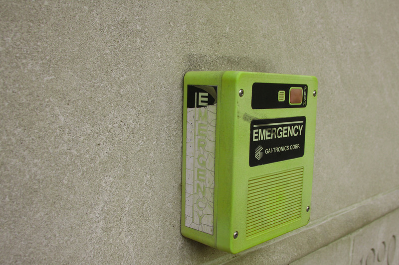 How often do you see a neon/skittle green emergency station?  It's not a bad color for it though.