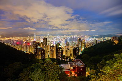 Hong Kong. View from the peak. Central, Wanchai, Causeway Bay and Kowloon.