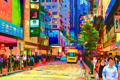 Hong Kong. Causeway Bay street life. Edited in Topaz Simplify 3.