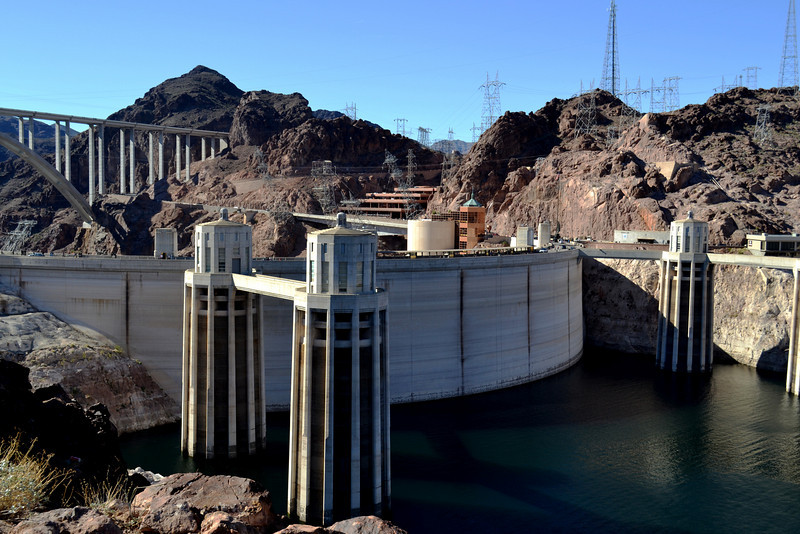 Hoover Dam in Nevada New Bridge is in Background