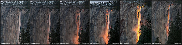 """Horsetail Falls lights up """"on fire"""" 2 weeks every year. We waited for several hours for the sun to set and just as it did, some clouds rolled in and prevented the Fire Falls from starting. Luckily with about 7 minutes left in the window of """"Fire Fall""""ing, the clouds parted, the bottom of the falls lit up first, and then shot on up. Here you can see the progression of Fire Falls."""