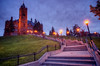 Stairs leading up to Crouse College on the Syracuse University campus in Syracuse, New York on a warm Spring evening.<br /> <br /> Scott Thomas