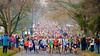 Runners head up Oneida Street at the start of the 43rd Annual Baldwinsville Kiwanis Turkey Trot 5K Run in Baldwinsville, New York on Thursday, November 24, 2011.