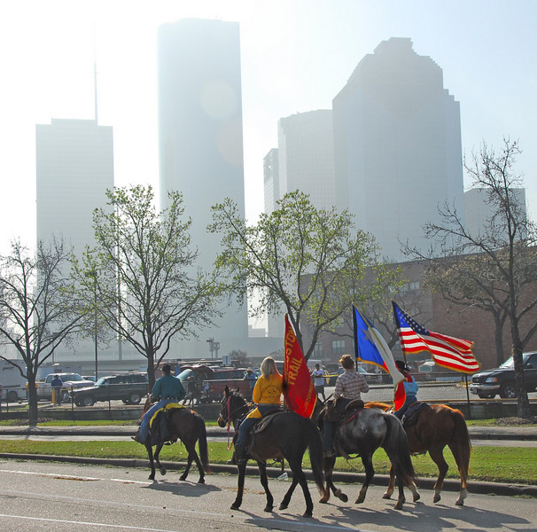 Heading in to town.<br /> Liked the building in the background and the backlit flags