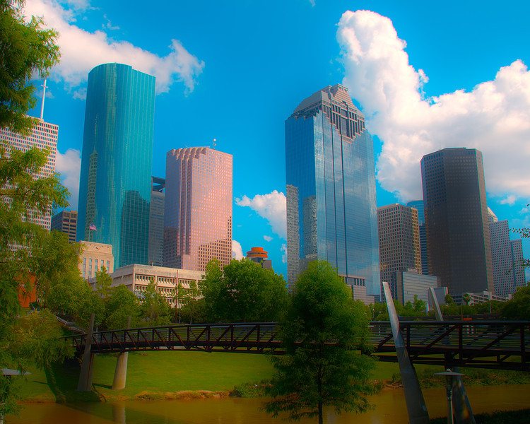 Downtown Houston and the Hobby Center Foot Bridge