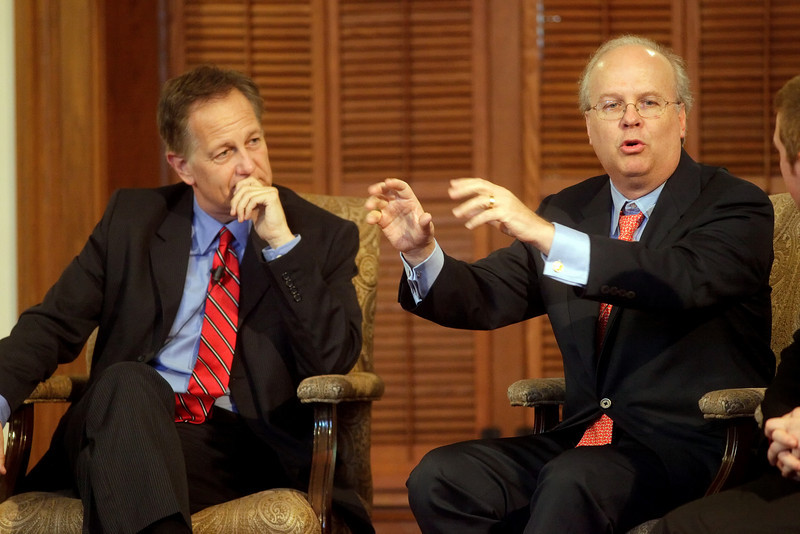 By Alex Turco/The DePauw-- Howard Dean, former chairman of the Democratic National Convention and former governor of Vermont, and Karl Rove, former Senior Advisor and Deputy Chief of Staff to former President George W. Bush, speak at DePauw University, Sept. 11, 2009.