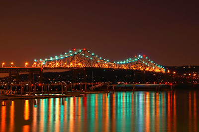 Tappan Zee Bridge at night overlooking the Rockland County side.