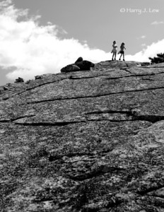 Two girls approaching the summit of  Mount Champlain in the park, elevation 1,058 feet.
