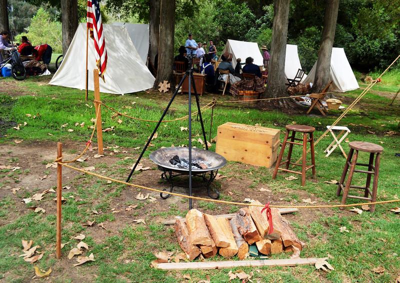 Campsite for American Team at Huntington Beach Annual Civil War Reenactment