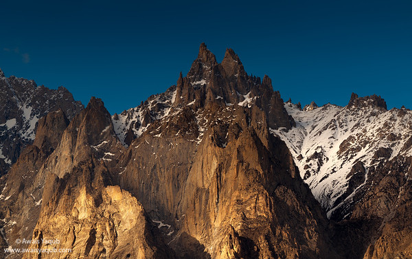 Closeup panorama of Passu Cathedral or Passu cone. Shot from Nagar valley on clear day