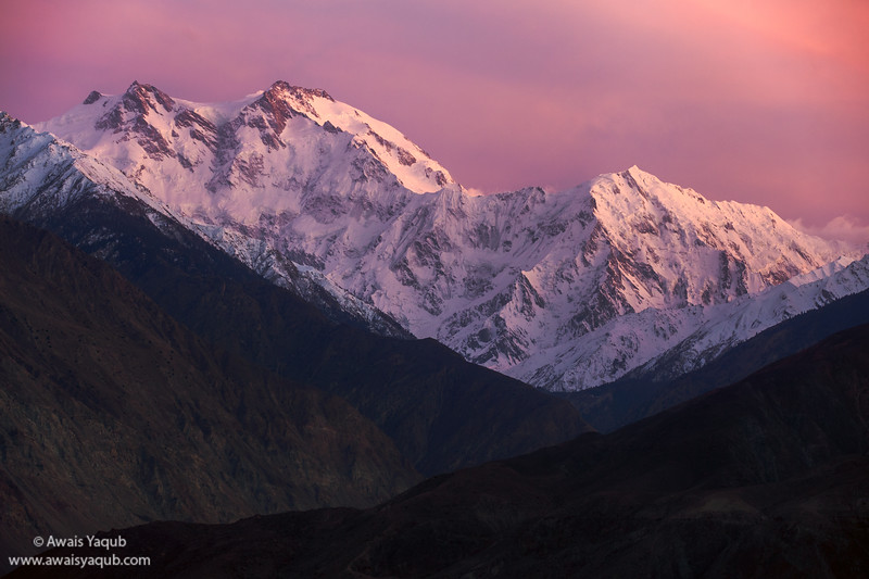 Sun sets for the Killer Mountain, Nanga Perbat