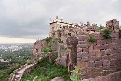 Golconda - the stairway connecting the place where the kings lived and where they held important meetings (top). Hyderabad city in the background. Note that many of the stone structures have little or no mortar