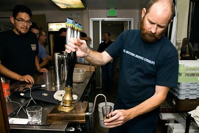 Back from a long journey in Europe Soren McCready pours cask ale at El Segundo Brewing Co. - El Segundo, CA