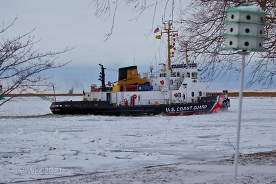 USCGC Bristol Bay 102 breaking ice on the South Channel