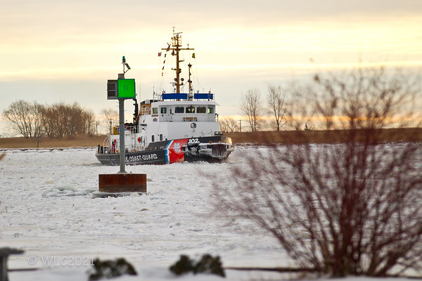 USCGC Bristol Bay 102 breaking ice on the South Chanel