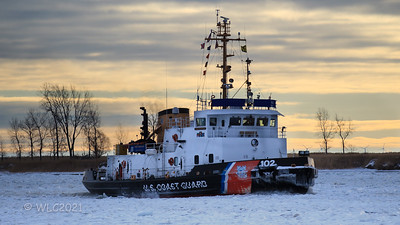 Can you See the alternative energy source in this picture?  USCGC Bristol Bay 102 breaking ice on the South Chanel